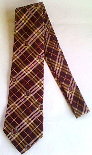 tommy-hilfiger-collection-mens-100-silk-neck-tie-burgundy-gold-plain-w-stars-th-logos