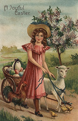A Joyful Easter - Girl Walking Lamb, Chick, and Rooster -