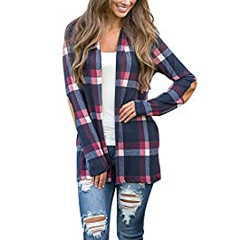 Yonala Women's Long Sleeve Stripped Open Front Elbow Patch Coat Cardigan