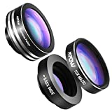Mpow iPhone Lens, 3 in 1 Phone Lens Clip-On 180 Degree Fisheye Lens + 0.65X Wide Angle + 10X Macro Lens Camera Lens Kit for iPhone8/7/6s/6s Plus/5/5S/SE/4 HTC Huawei Other Single Camera Smartphones