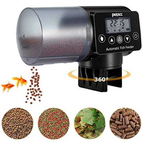petacc Automatic Fish Feeder, Programmable Moisture-Proof Electric Auto Fish Feeder for Aquarium Tank Timer Feeder Vacation &Weekend Fish Food Dispenser (For Tanks Fish Timers)