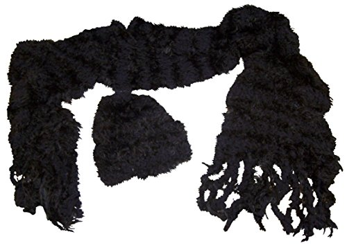 N'Ice Caps Womens Fancy Feather Yarn Hat And Scarf Accessory Set (One size fits Womens, Black)