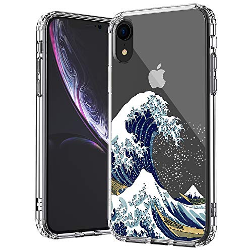 MOSNOVO iPhone XR Case, Clear iPhone XR Case, Tokyo Wave Pattern Clear Design Transparent Plastic Hard Back Case with Soft TPU Bumper Protective Case Cover for Apple iPhone XR