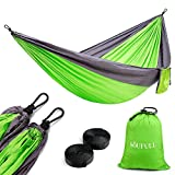Soufull Camping Hammock Hammock Tree Straps&Carabiners,Portable Parachute Nylon Hammock Backpacking Travel,Beach,Yard