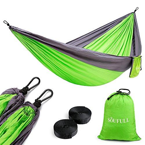 Soufull Camping Hammock Hammock Tree Straps&Carabiners,Portable Parachute Nylon Hammock Backpacking Travel,Beach,Yard