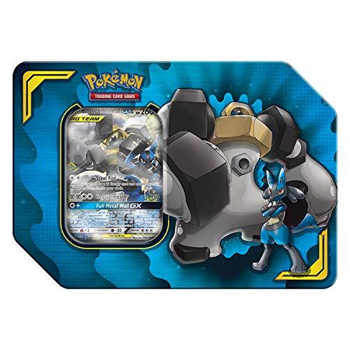 Pokemon TCG: Tag Team Lucario & Melmetal Tin + 4 Booster Pack + 1 Metal Tag Team Gx Marker + 1 of 3 Foil Tag Team Pokémon-GX (Best Dark Pokemon Team)