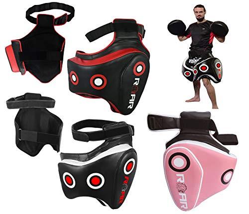 Professional Muay Thai Velcro - ROAR MMA Kickboxing Thigh Pads UFC Training Kick Muay Thai Leg Protector Guard (BLK/Red, Single)