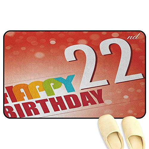 homecoco 22nd Birthday Microfiber Absorbent Bath Mat Invitation to Happy Celebration of A New Age Bokeh Effect Style Art Print Red White Kitchen Decor mats W19 x L31 INCH