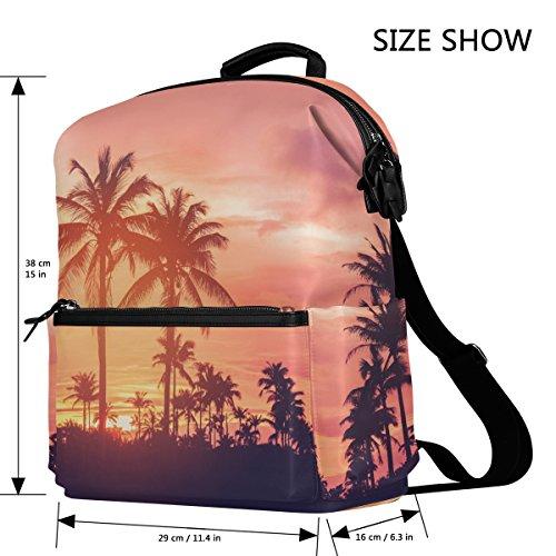 Palmen und Sonnenuntergang Himmel leicht wasserdicht Polyester groß Kapazität Rucksack Campus Rucksack Reise Daypack YFHDiHC