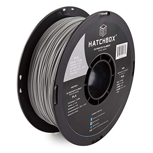 - HATCHBOX PLA 3D Printer Filament, Dimensional Accuracy +/- 0.03 mm, 1 kg Spool, 1.75 mm, Gray