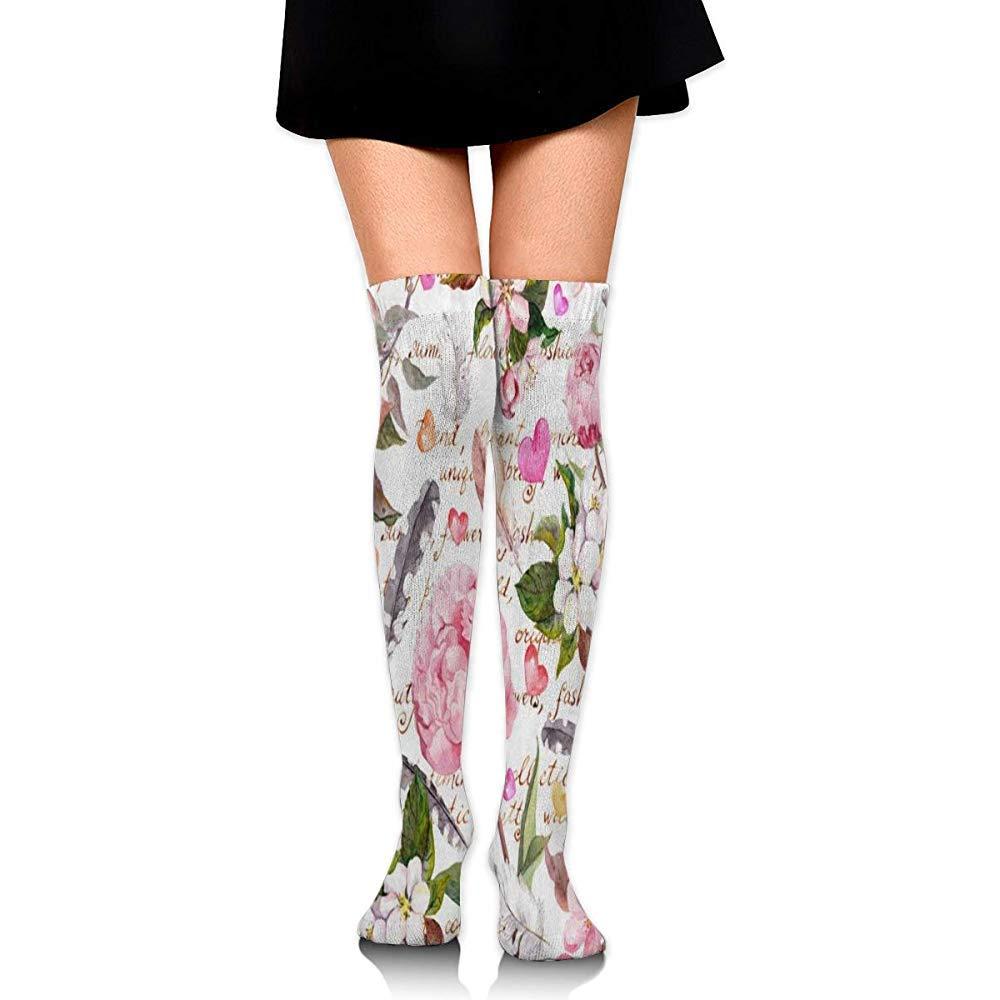 Wa-shop Calza elastica Shabby Chic Calze da calcio con piume di fiori di peonia sopra la calza al ginocchio In esecuzione vintage