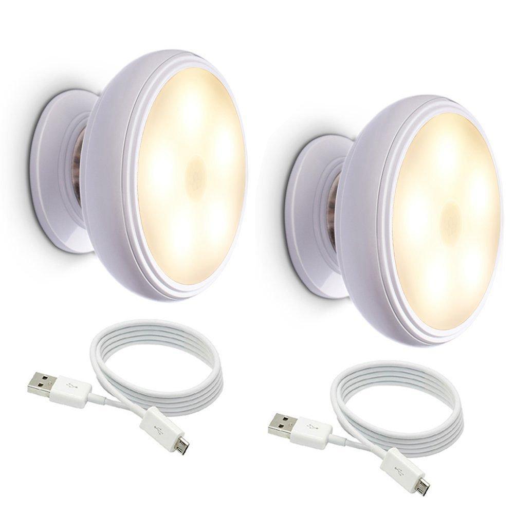 Induccion del cuerpo humano Luz de noche de rotacion de 360 grados USB recargable LED Base de iman desmontable SODIAL Luz de noche de sensor de movimiento Luz blanca