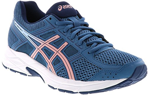 ASICS Womens Contend 4 Running Sneaker, Azure/Frosted Rose, Size 6.5
