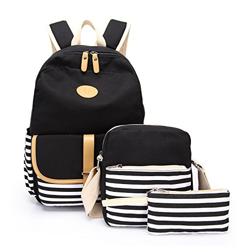 School Backpack, Aiduy Student Canvas Bookbag Lightweight Laptop Bag with Shoulder Bags and Pen Case for Teen Boys and Girls (Black, 3pcs)