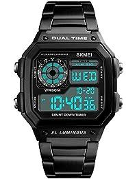 Men's Luxury Digital Quartz Waterproof Wrist Watches Dual Time Countdown Alarm Stopwatch Backlight Multi-function Watch (Black)