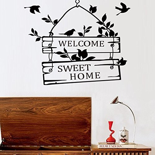 BIBITIME Black Birds Wall Decal Sticker Sayings Quote Welcome Sweet Home Sign for Front Door Mural Decor DIY Living Room Vinyl Decoration,15.35