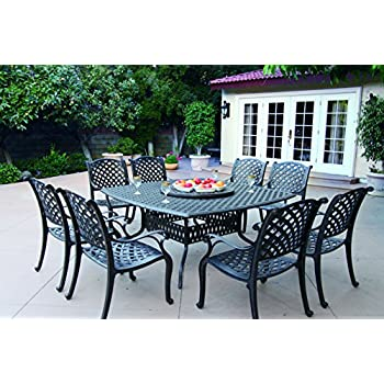 Attrayant Darlee Nassau Cast Aluminum 10 Piece Dining Set With Seat Cushions, 64 Inch
