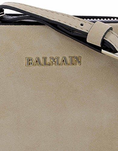BALMAIN FEMME P0MSPC021504105 BEIGE/NOIR SUÈDE SAC PORTÉ ÉPAULE