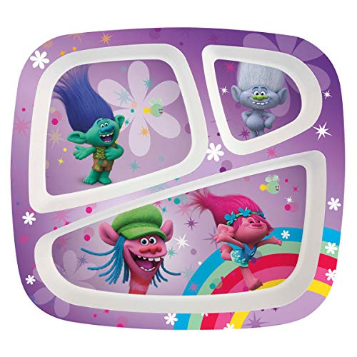 Zak Designs Trolls Movie 3-section Kids Plate, Poppy, Branch, Cooper & Guy Diamond ()