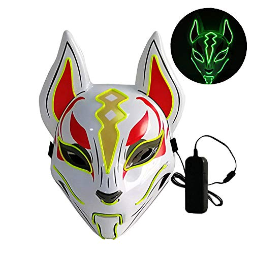 L'VOW Glowing Fox Drift Mask Headgear LED Light Up Masks for Party Cosplay Halloween Costume Props (Lime Green)]()