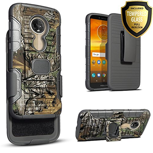 Star [Combo Holster] For Moto G6 Play Case, Moto G6 Forge Case, With [Tempered Glass Screen Protector] With Built-In Kickstand Magnet For Car Holder And Ring Holder (Camo)