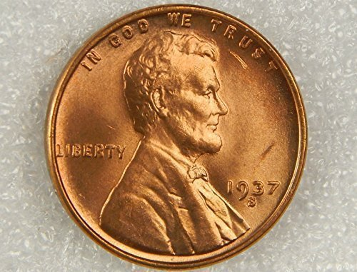 1937 S Gem Red Uncirculated Lincoln Wheat Cent - Lincoln Cents Uncirculated Gem