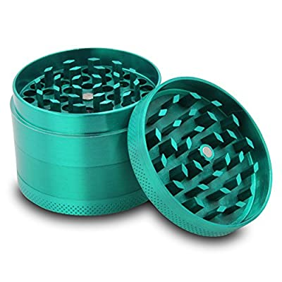 DCOU Zinc Alloy Tobacco Grinder / Spice Grinder / Herb Grinder / Weed Grinder with Magnetic Cover, Sifter and Pollen Scraper, 4 - Piece, 2.14""