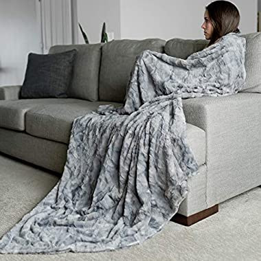 GRACED SOFT LUXURIES Oversized Softest Warm Elegant Cozy Faux Fur Home Throw Blanket 60  x 80 , Marbled Gray