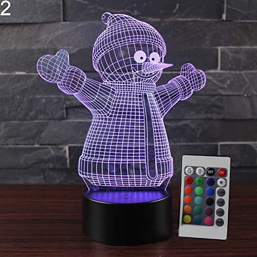 Misszhang-US Christmas Snowman 3D Illusion Color Changing LED Desk Light Table Night Lamp 2