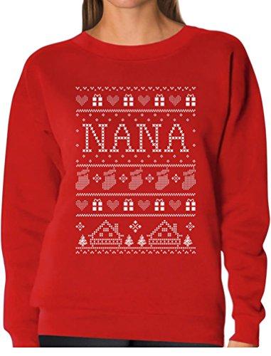 Tstars TeeStars - Nana Ugly Christmas Sweater - Funny Gift For Grandma Women Sweatshirt Medium (Funny Holiday Family Photos)