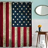 Rustic Shower Curtains American USA Flag Shower Curtain Vintage by Goodbath, 4th July Independence Day Fabric Waterproof Bathroom Curtains, 72 x 72 Inch, Rustic Red Blue White
