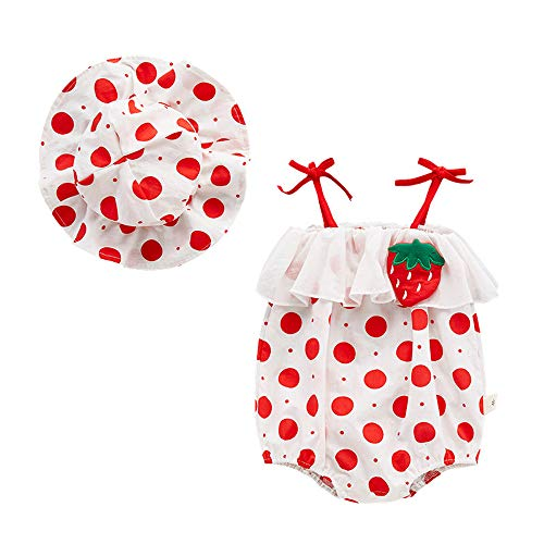 Halter Hat - Newborn Infant Baby Girl Clothes Cotton Romper Jumpsuit Ruffled Strap Halter Bodysuit with Hat Summer Outfit (6-9M, red)