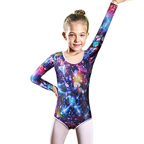 Galaxy Training Top (BAOHULU Girls Gymnastics Clothes Shiny Spliced Diamond Mermaid Tank Dance Leotard 3-12 Years (8A(Recommended age 7-8Y), Galaxy LongSleeve))