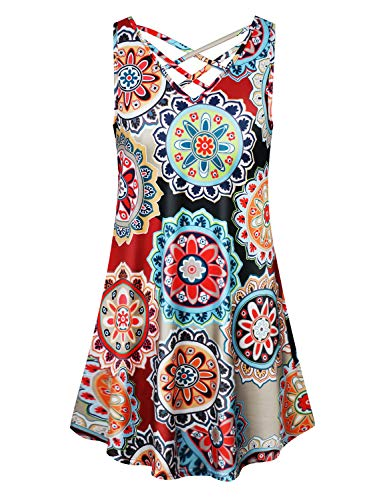 Floral Print Trapeze - Cyanstyle Flower Tank Tops for Women Misses Simple Elegant Sleeveless Shirt Dress Spring Floral Print Trapeze Hem Tunic Workout Casual Basic Loose Fit Blouses Red S