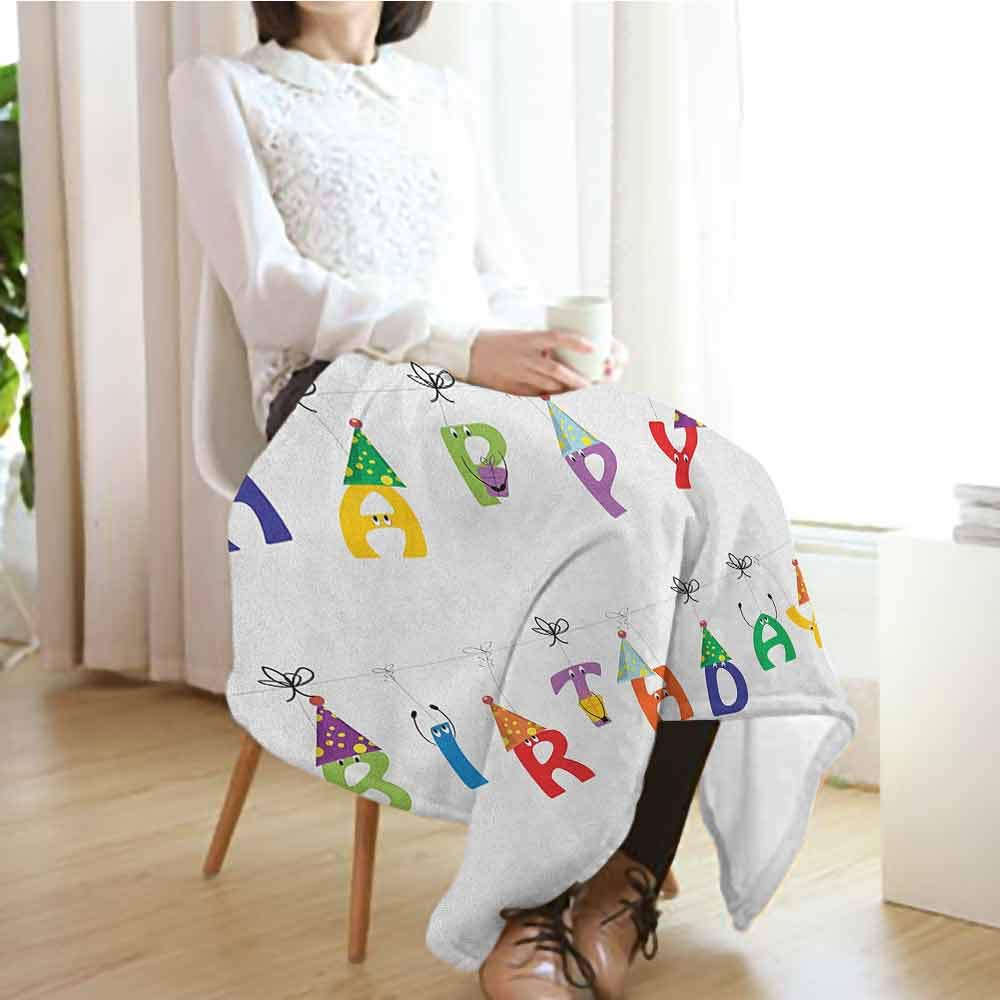 Birthday Chunky Knit Blanket,Celebration Cute Colorful Letters on Ropes Funny Faces Pointy Party Hats for Kids Microfiber All Season Blanket for Bed or Couch Multicolor,60'' Wx80 L Multicolor by Custom&blanket (Image #3)