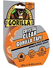 Gorilla Crystal Clear Tape, Duct, Utility, Non-Yellowing, Heavy Duty, Extra Thick Adhesive, Flexible, UV Temperature Resistant, 1.88 in x 27 ft, (Pack of 1), 6127002