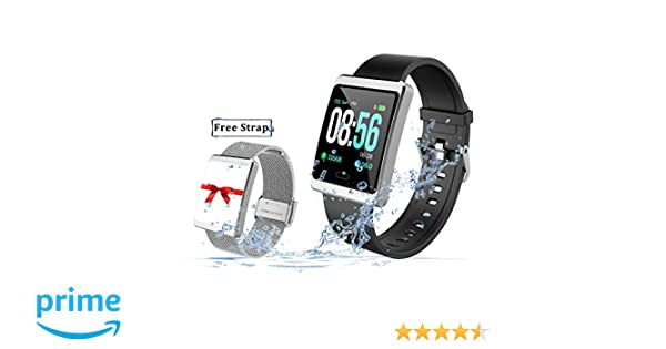 2019 Version Smart Watch for Android and iOS Phones with Heart Rate and Blood Pressure Monitoring, Sleep Monitoring, Information Alerting & Motion ...