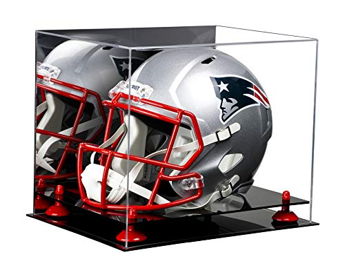 Deluxe Acrylic Football Helmet Display Case with Red Risers and Mirror (A002-RR)