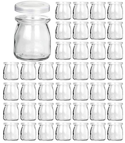 Glass Jars, KAMOTA 40 PACK 6oz Clear Yogurt Jars With PE Lids, Glass Pudding Jars Yogurt Jars Ideal for Jam, Honey, Wedding Favors, Shower Favors, Baby Foods (200ml) (Flat Glass Jars With Lids)