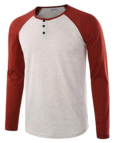 Jersey Cotton Henley (HARBETH Men's Casual Long Sleeve Henley Shirt Raglan Fit Baseball T-Shirts Tee H.Oatmeal/Rusty XL)