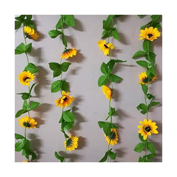 "Calcifer 2 Sets 102.36"" Silk Sunflower Vines Garland Artificial Flowers Bouquet for Home Garden Room Hotel Party Wedding Decoration"