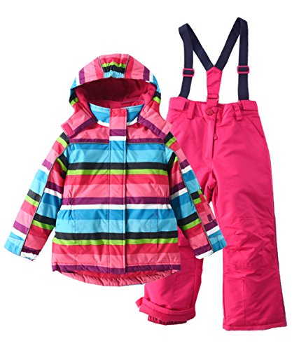 Insulated Jackets Ski Suit - M2C Girls Thicken Warm Hooded Striped Ski Snowsuit Jacket & Pants 7/8 Rose