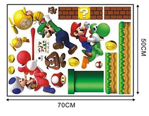 NUEVO Super Mario Bros Desmontable Pegatinas de pared Calcomanía Decoración para el hogar para niños: Amazon.es: Bebé