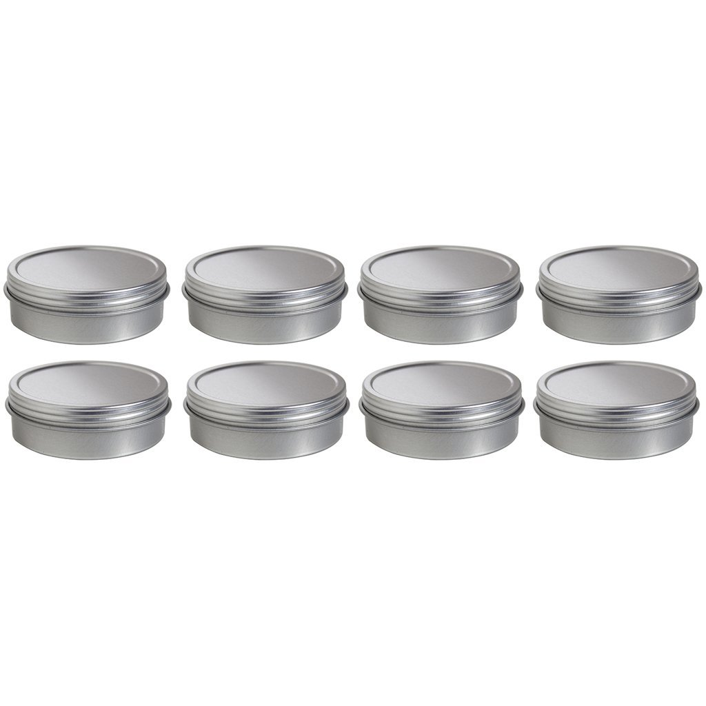 2 oz Metal Steel Tin Flat Container with Tight Sealed Twist Screwtop Cover (8 pack) + Labels