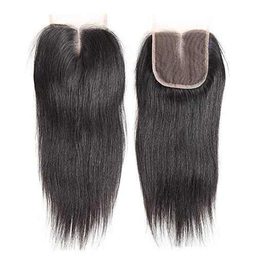 CYNOSURE Brazilian Virgin Hair Straight 3 Bundles with Closure 4x4 Middle Part Human Hair Bundles with Closure Natural Black (18 20 22+16 inch closure) by CYNOSURE (Image #5)
