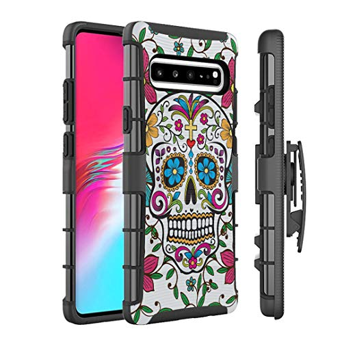 - Moriko Case Compatible with Galaxy S10 5G [Armor Layer Drop Protection Shockproof Kickstand Belt Clip Holster Combo Black Case Cover] for Samsung Galaxy S10 5G - (Sugar Skull Blue)
