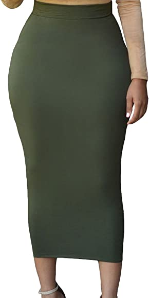 3e2020babb HUUSA Sexy Womens Solid High-Waisted Bodycon Cotton Maxi Skirt (Small,  Green)