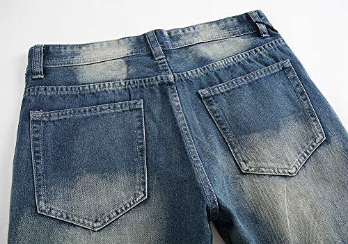 Hombres Lavado Jeans Ajustado Pantalones Versaces Agujero blue Heterosexual Corte Ocio CHOFfdwq