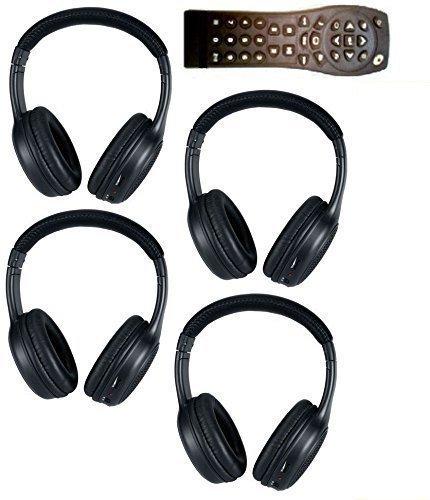 4 Headphones 1 Remote for Chevrolet Suburban, GMC Yukon, Escalade, Tahoe, Acadia, Buick Enclave, Pontiac Montana, Terraza, Saturn Relay, Silverado, Outlook, Denali