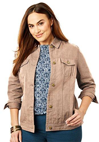 New Womens Ladies Khaki - Jessica London Women's Plus Size Classic Cotton Denim Jacket New Khaki,14